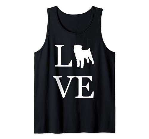 I Love Brussel Griffon Silueta Dog Lover White Graphics Camiseta sin Mangas