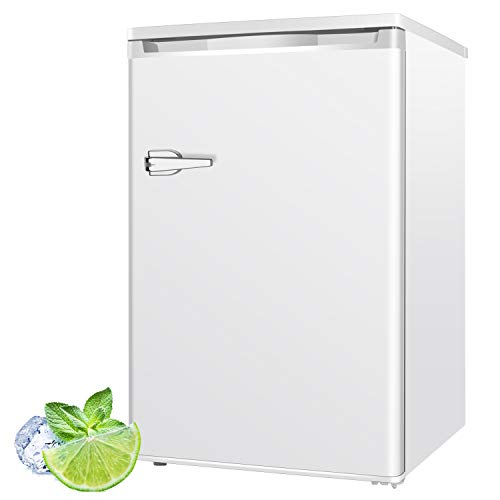 RMYHOME 3.0 Cu.ft Compact Upright Freezer, Deep Chest Freezer with Single Door and Shelves, Adjustable Leveling legs, Cold Storage of Food & Beverage for Home, Office, Dormitory, Apartment, White