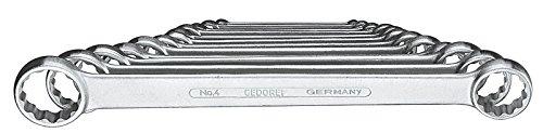 GEDORE 4-12 Doppelringschlüssel-Satz, gerade, Ausführung nach DIN 837, Form B, flach, mit dünnwandigen Ringen, verchromt mit UD-Profil, 12-teilig, 6-32 mm