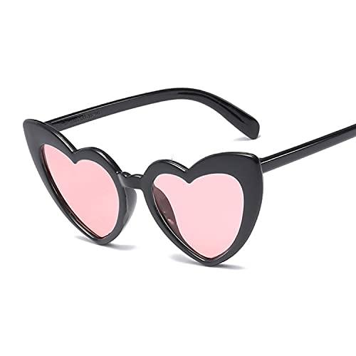 Gafas de Sol Amor corazón Gafas de Sol Mujeres Personalidad Sol Gafas de Sol Moda Lindo Sexy Retro Gato Ojo Vintage Gafas de Sol Rosa Hembra Gafas de Sol (Lenses Color : Black Pink)