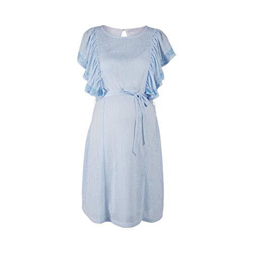 2HEARTS Umstands-Kleid Love - Schwangerschaftskleid mit Volantärmeln & floralem Print - Sommerkleid für werdende Mamas - blau-weiß gestreift