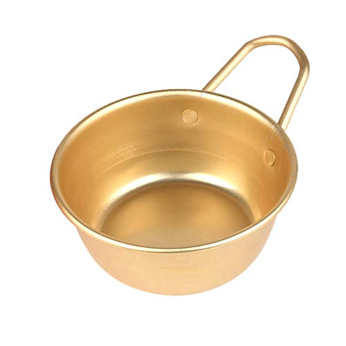 WskLinft Korean Wine Cup, Korean Traditional Aluminum Round Rice Bowl Wine Cup with Handle for Makgeolli