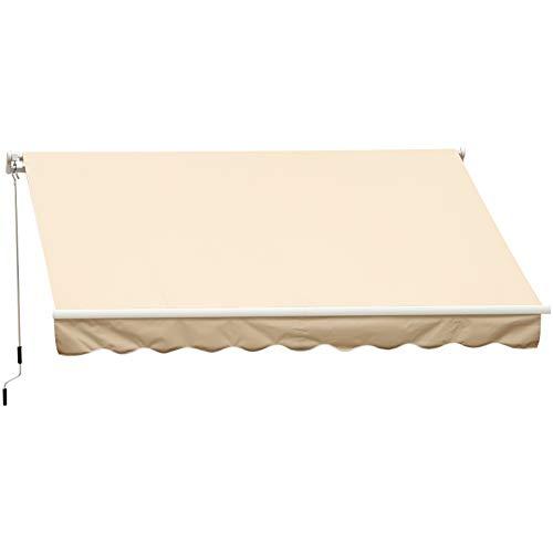 Outsunny Markise Gelenkarmmarkise Sonnenschutz Handkurbel Balkon Alu Creme 3,95x2,5m