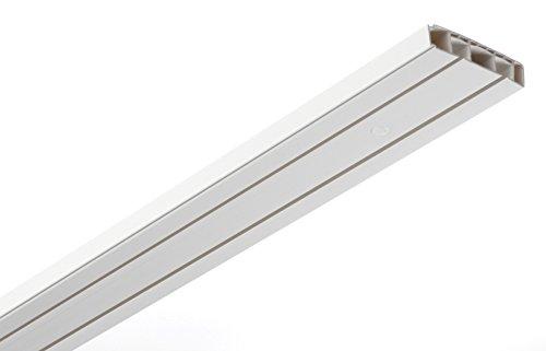 GARDINIA Vorhangschienen Set, Komplett-Set mit 2-läufiger Schiene, Inkl. Befestigungsmaterial, 3 x 120 cm, Weiß