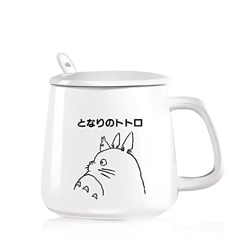 SQX Tazas para Enamorados de Totoro, Vaso de Vidrio, Cubierta, Cuchara, Taza café de cerámica (Color : White)