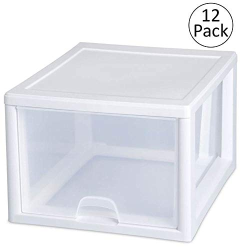 Sterilite 27-Quart Single Box Modular Stacking Storage Container Clear (12 Pack)