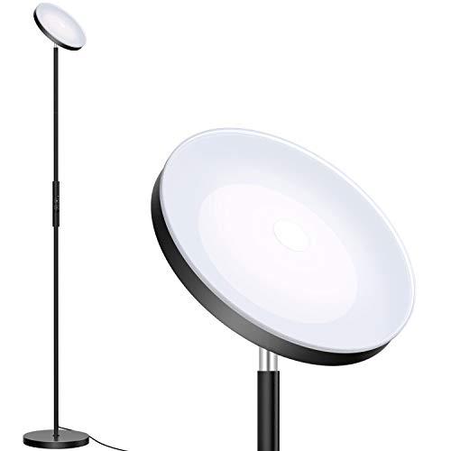 Bbounder LED Deckenfluter Stehleuchte Stepless Dimmbare Torchiere Stehleuchte - Hoch Stehendes Modernes Mastlicht für Wohnzimmer, Schlafzimmer & Büro