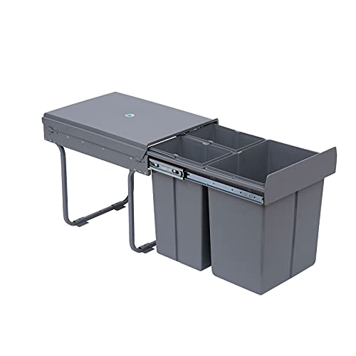 HOMCOM Cubos de Basura Extraíbles para Cocina 3 Contenedores de Reciclaje 1x20L y 2x10L Clasificación de Residuos Metal y Plástico 48x34,2x41,8 cm Gris