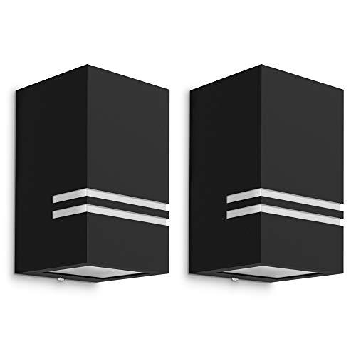 2 Stück moderne LED Wandleuchte JOVO-S für Außen - mit 2x LED GU10 6W warmweiß - Außenleuchte Up oder Down IP44 matt schwarz