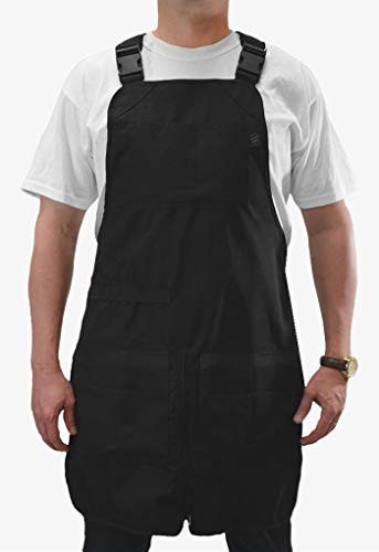 Barber Strong The Barber Apron, Black, Hair Repellent, Ultra Lightweight with Adjustable Padded Harness, Zippered Split Leg, Easy Hair Removal from Pocket, Regular Fit, Great for Pet Grooming