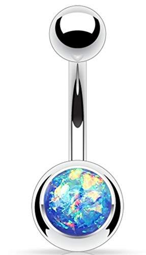 Pegasus Body Jewellery Amazon Shop - Piercing per ombelico in acciaio chirurgico 316L, colore: argento e blu brillante