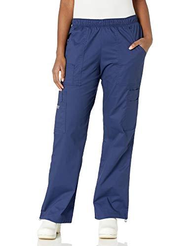 Cherokee Women's Mid-Rise Elastic Waist Cargo Scrubs Pant, Navy, X-Large