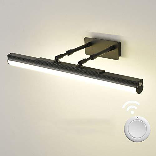 ACMHNC Lámpara de Espejo Baño Vintage Con Control Remoto, Luz de Baño LED Cobrable USB, Negro Lámpara de Pared Con Interruptor, Ángulo Ajustable,4000K Luz de Maquillaje Para Espejo Armario,60cm/16w