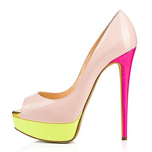 Sexy Zapatos De Tacón, Pío De La Plataforma del Dedo del Pie Inferior Grueso 15Cm Super High Mujeres Bombea Los Zapatos De La Boda del Partido del Club De Noche,2,39