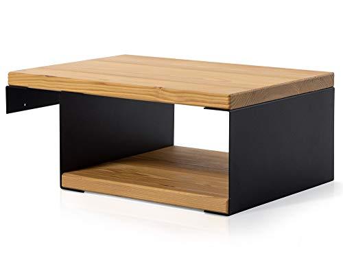 moebel-eins CURBY Nachtkommode für Balkenbett, Material Massivholz/Metall, rustikale Altholzoptik, Fichte/schwarz