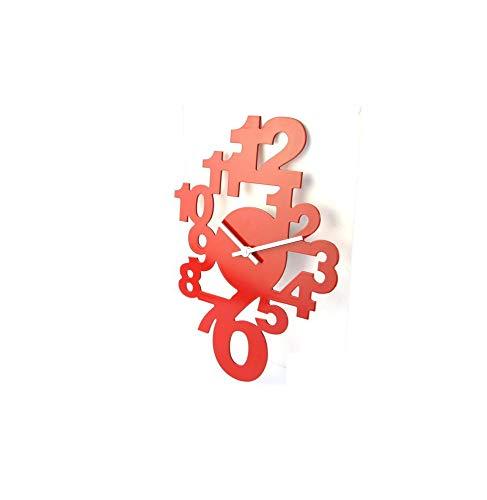 AC-Déco Horloge en Bois - Pendule Design Rouge