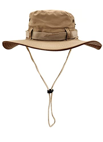 Sombrero del Pescador Plegable para Hombre Mujer, Gorro de Protección Solar UPF 50 de ala Ancha, Sombrero de Pesca Impermeable para Verano, Aires Libre, Caza, Camping Safari (Beige)