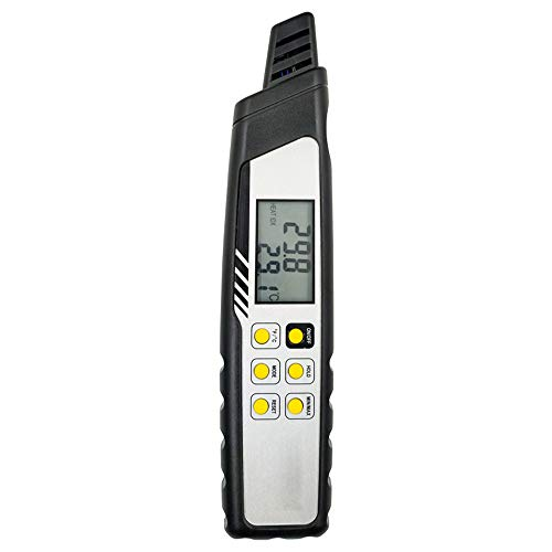 ZHLZH WBGT Heat Stress Meter, Heat Index Thermometer, Temperature, Humidity, Heat, Dew Point, Air Barometric Pressure Gauge (Wet Bulb, Dew Point, Temperature, Humidity)