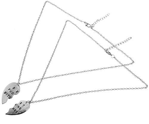 Create Idea Mode 2X Best Fucking Bitches Silber Gebrochenes Herz Ketten Halsketten Geschenke