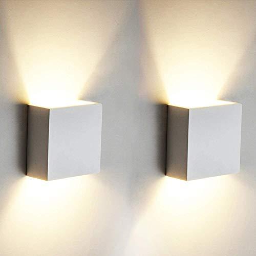 2 Stücke LED Wandleuchte, OOWOLF 6W Up Down Indoor Wandleuchte Moderne Aluminium Wandleuchte Leuchten für Wohnzimmer Schlafzimmer Badezimmer Küche Esszimmer, warmes Weiß [Energieklasse A++]
