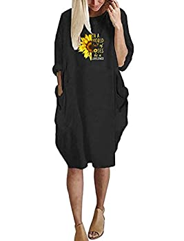in A World Love of Roses Be Sunflower Color Print Graphic Cotton T-Shirt Dress for Women