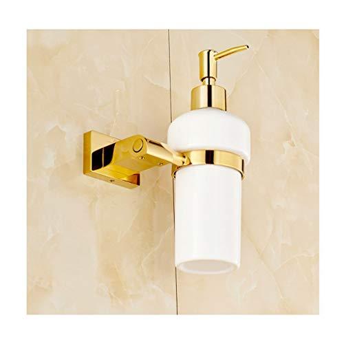 Aveo Seifenspender Flüssigseifenspender Wandhalterung Badzubehör Waschmittel Shampoo Spender Küche Seife Flasche 250 ML Pumpspender (Color : Gold)