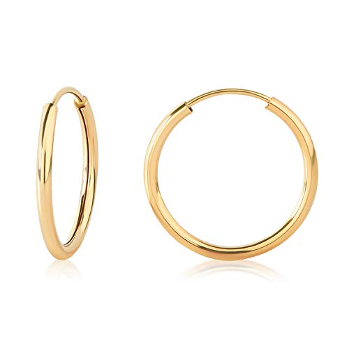 15mm YG Endless Hoop Earrings in 14k 41700