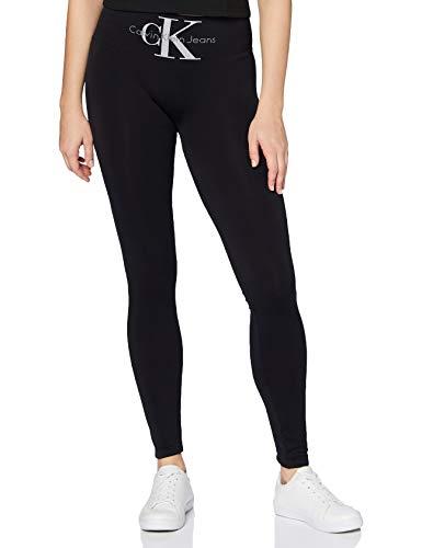 Calvin Klein Women Legging 1p Logo High Waist Liberty Pantaloni Aderenti, Nero, M Donna