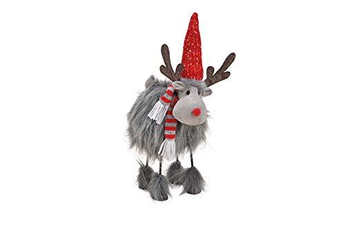 Kasberger Wackelelch - niedlicher XXL Elch für Weihnachtsdeko - 43 cm hoch! Stehend aus Textil, Metall Grau, 43 cm groß! (B/H/T) 25x43x15cm