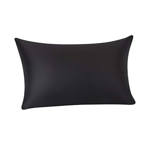 Amazon Basics - Funda de almohada de seda de morera 100%, ideal para el cabello y la piel, cierre de cremallera, doble cara, 19momme, negra, 50x75cm, 1unidad