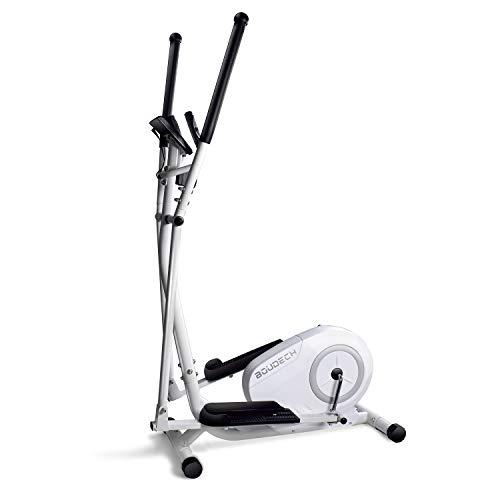Bicicleta estática elíptica cross trainer bidireccional con volante de 5 kg ultra silenciosa, resistencia magnética ajustable en 8 niveles y diseño con doble empuñadura y pulsómetro (blanco)