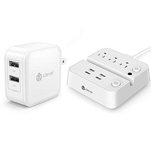 iClever BoostCube 2nd Generation 24W Dual USB Wall Charger with SmartID Technology and Power Strip with USB Charging Station with 3 Outlet 4 USB Ports, 10A 5ft Extension Cord Bundle
