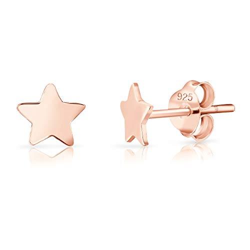 DTPsilver® Aretes/Pendientes Pequeños de Plata de Ley 925 Chapado en Oro Rosa - Estrella pequeña - Diámetro: 5 mm
