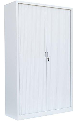 Großer Querrollladenschrank kompl. montiert und verschweißt weiß Stahl Büro Aktenschrank Rollladenschrank weiß 555157 (HxBxT) 1950 x 1000 x 460 mm