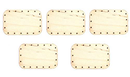 Zita's Creative 5X Korbboden eckig, 7x11cm für Peddigrohr 3mm - Flechten, Korbflechten, Schilf Set, Peddigrohr, Flechtmaterial, Flechtset, Rattan