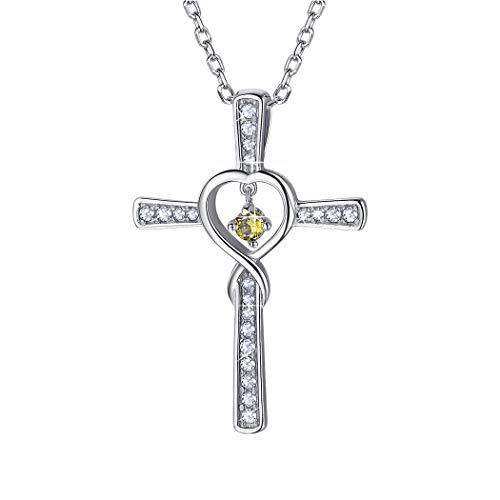 Suplight Halsschmuck Unendlichzeichen Kreuz Anhänger mit 51cm Kette 925 Sterling Silber imitiert Peridot Geburtsstein August Geschenk für Frauen Mädchen