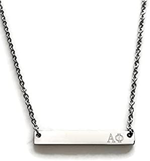 Alpha Phi Sorority Necklace Silver Stainless Steel 18 inch Greek Life Bid Night Gift Big Little Sisters