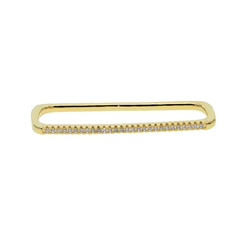 Women Jewelry 1 Piece Ear Cuff No Piercing Ear Clip White Rainbow Rectangle Cuff Earring (Metal Color : Gold white cz)