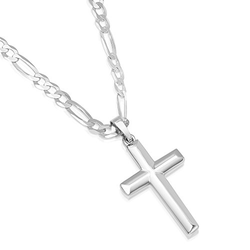 XP Jewelry Men's Sterling Silver Cross Pendant Figaro Chain Necklace Italian Made - 100-4mm - 30'