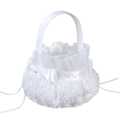 Corbeille à fleurs en satin pour mariage - Blanc - 17 × 22 cm