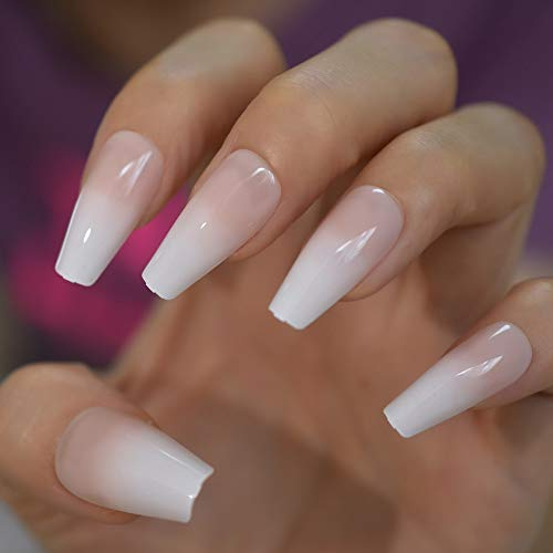 CoolNail Glossy Ombre Pink Nude White French Ballerina Coffin False Nail Gradient Natural Press on Ballet Fake Nails Tips Reusable Wear
