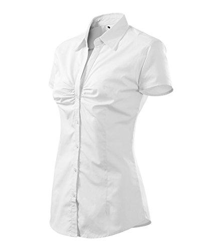 Adler Elegante Damen Bluse Kurz | Vorderseite durch EIN Faltenmuster hervorgehoben | 100% Baumwolle | pflegeleicht | bis Größe XXL (214-Weis-S)