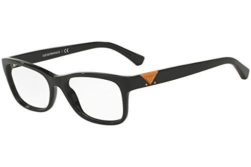 Emporio Armani Frau EA3093 Brillen 51-17-140 Shiny 5017 EA 3093 Schwarz groß