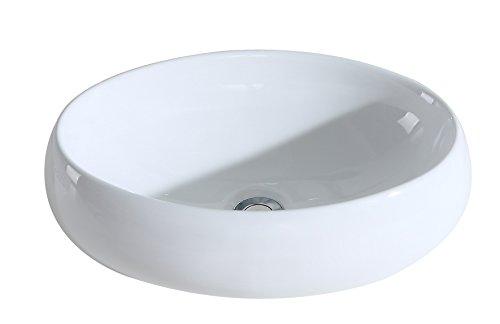 Eridanus Serie MALIE-S, Lavabo di Ceramica Bianco Lusso Lavandino Lavello Lavamano Lavabo da Appoggio Tondo Ovale Bacinella Lavandino Lavello per Bagno Casa Bidet Lavabo