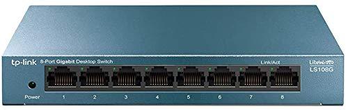 TP-Link Switch Gigabit 8 ports RJ45 (LS108G) Métal 10/100/1000 Mbps, Switch Ethernet idéal pour étendre le réseau câblé pour les bureaux à domicile