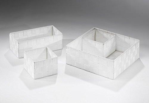 Locker Regalkorb eckig weiß aus Nylon auf Metallrahmen geflochten 4er Set