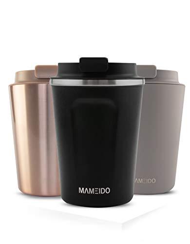MAMEIDO Thermobecher Schwarz Matt 470ml - Kaffeebecher, Edelstahl doppelwandig isoliert, auslaufsicher, Coffee to go, Kaffee & Tee Isolierbecher Travel Mug