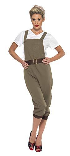 Smiffys 44438M - WW2 Land-Mädchen-Kostüm mit Top Latzhose und Kopftuch