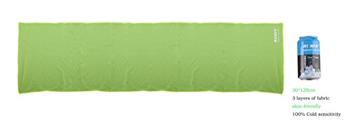 ROMIX Cooling Towel 30 * 120cm Instant Cooling Use as Cooling Neck Headband for Yoga Running Cycling with Bottle (Green)