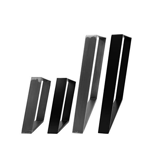 2x Natural Goods Berlin Design Tischkufen viele Modelle Metall Tischbeine | Tischgestell aus Stahl | geineigt, Trapez | Esstisch, Schreibtisch, Couchtisch, Bank (80GRAD - H42cm, Schwarz)